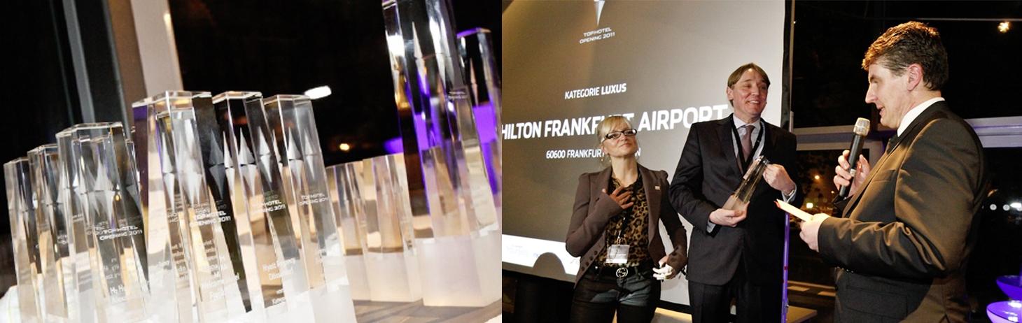 Luxushotel Hilton Frankfurt Airport aus der Kreation von JOI-Design mit großem Branchenpreis ausgezeichnet