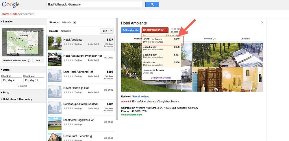 Google Hotelfinder - Hotel Ambiente Bad Wilsnack und Parkhotel Ambiente Hohnstein