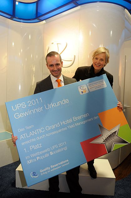 1. Platz beim UPS-Wettbewerb von QR: Ursula Carl und Sascha Füchtner vom Atlantic Grand Hotel Bremen