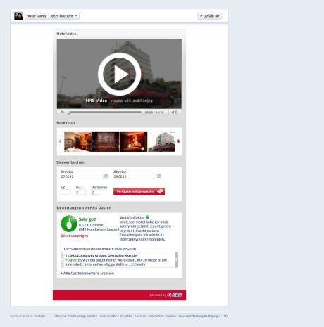 Kostenfreie Facebook-App für Hotels von hrs.de