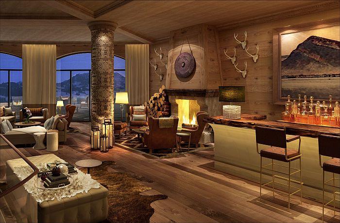 Panoramablick auf die Schweizer Alpen: Lobby im Alpina Gstaad
