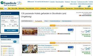 Hotelsuche bei expedia.com: 450 skandinavische Kettenhotels steigen aus