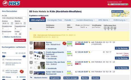 Merkwürdige Suche bei hrs.de nach einem Hotel in Köln (1 Ü/F vom 18. auf 19.12.2012): Hotel Savoy Köln - geleitet von Gisela und Daniela Ragge - steht offenbar dauerhaft auf Platz 1