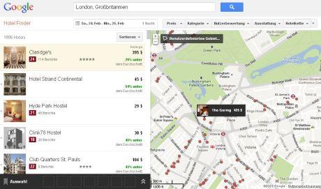 """Google Hotel Finder: Bei der Hotelsuche in London werden """"Hotspots"""" automatisch mit angezeigt - das ist eine nützliche Hilfe bei der Auswahl des richtigen Hotels"""