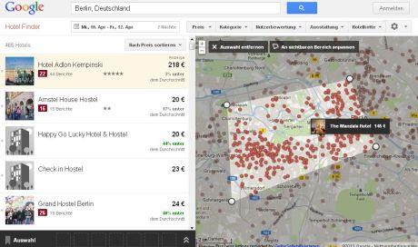 Google Hotel Finder - Auswahl Berlin