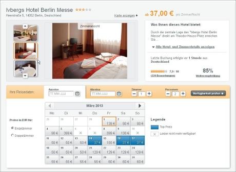 Der Preiskalender von hotel.de findet immer den passenden Preis
