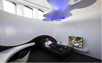Hotelzimmer aus dem Urban Living Lab im ZVE in Stuttgart (Foto: Bernd Müller, © Fraunhofer IAO)