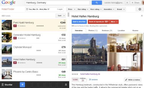 Google Hotel Finder - Hamburg - Anfang Mai - Screenshot vom 13.03.2013, 21.10h