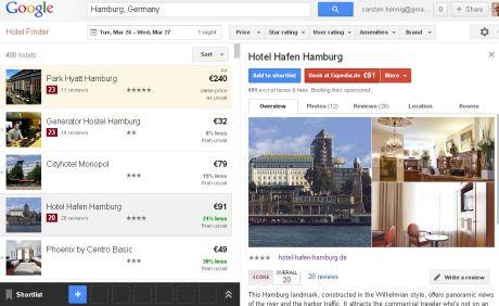 Google Hotel Finder - Hamburg - Anfang Mai - Screenshot vom 13.03.2013, 21.10h