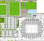 Hotelprojekt (blau) am Stadion von Borussia Mönchengladbach