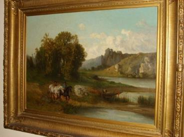 """Ölbild """"Landschaft mit Fluss und Pferden"""""""