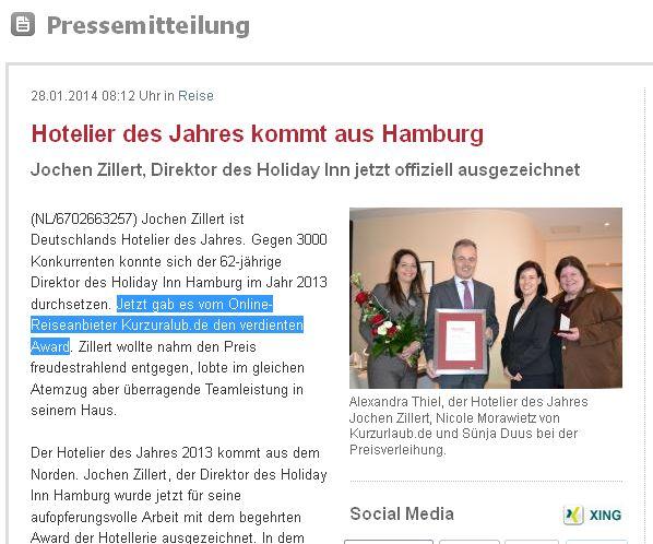 Kurzurlaub.de - Hotelier des Jahres 2014 Jochen Zillert