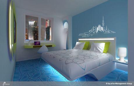 Frisches Hoteldesign zu günstigen Preisen – Budget-Hotels boomen in Deutschland  (Foto: Musterzimmer im neuen Prizeotel Hamburg-City; Eröffnung im Juni 2014)
