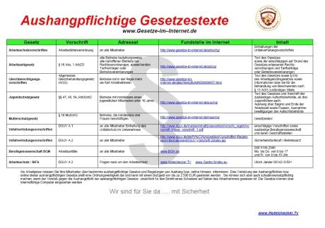 Aushangpflichtige Gesetze - Übersicht von Hotelchecker Ulrich Jander - www.hotelchecker.tv
