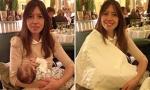 Lousie Burns (35) mit ihrer drei Monate alten Tochter Isadora im Claridges in London: Diskretion per Stoffserviette - diskriminiert das stillende Mütter?