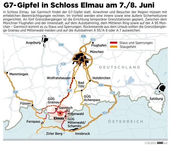 Staus, Sperren und Kontrollen rund um den G7-Gipfel - Autofahrer sollten Großraum Garmisch zwischen dem 6. und dem 8. Juni meiden - ADAC empfiehlt Urlaubern großräumige Umfahrung