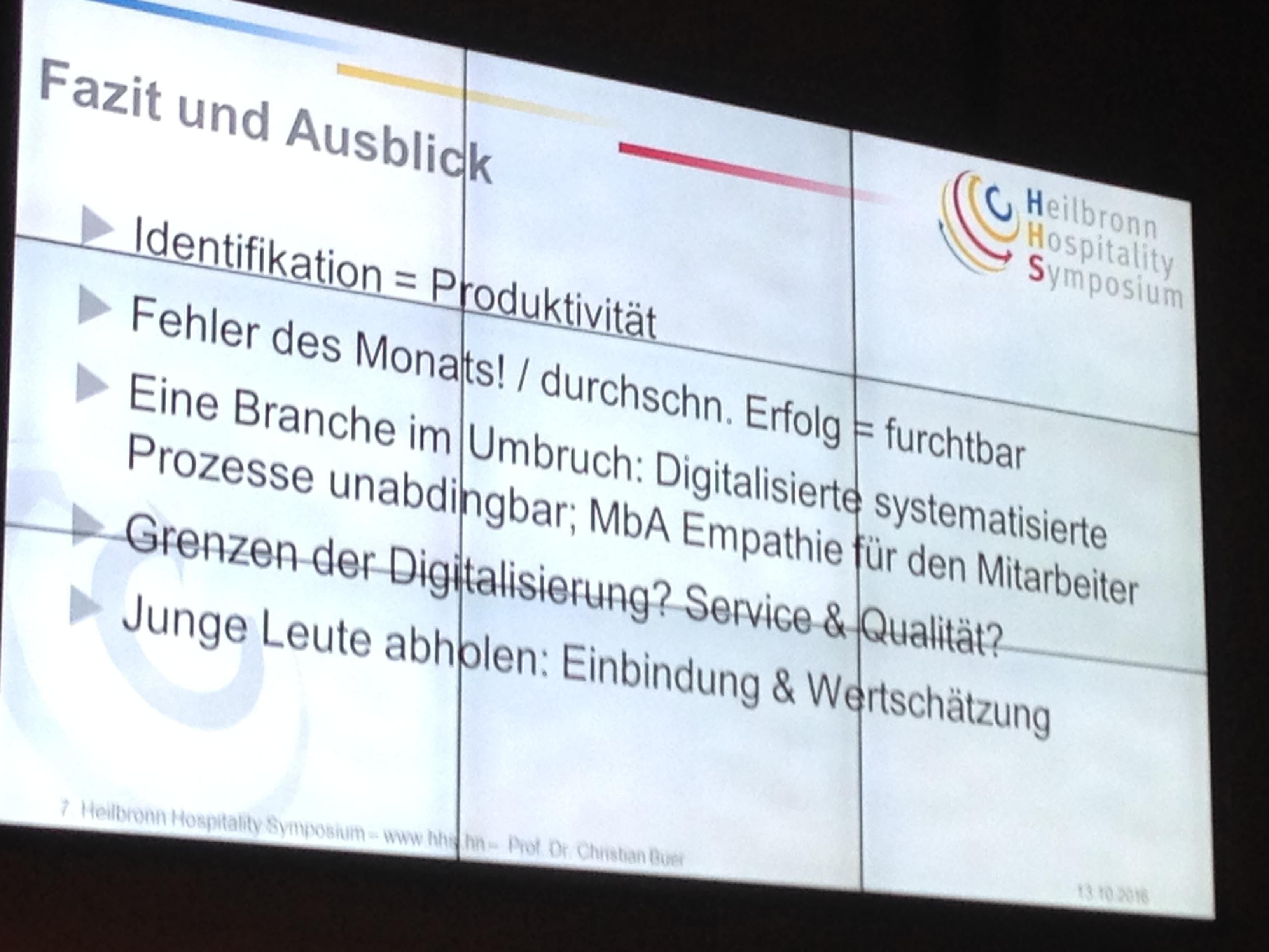 Heilbronn Hospitality Symposium 2016 - Ergebnisse